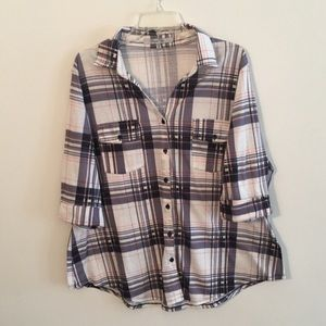 Paper Tee Plaid Button Up Blouse